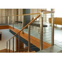 China Square Stainless Steel Rope Fence Stainless Steel Railing With Solid Wood Handrail on sale
