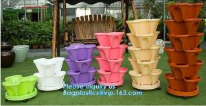 China PP Plastic materials hydroponic vertical tower stackable plastic garden pots,vertical tower farming use stacking planter on sale