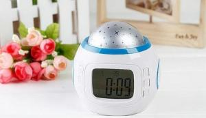 China Led Starry Sky Projection Calendar Music Lcd Digital Alarm Clock on sale