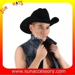 China 0372 wool felt cowboy hats for mens, black western cowboy hats on sale