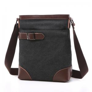 China Male Poly Cotton Cross Shoulder Bag Smooth Zipper OEM With Soft Canvas Fabric on sale