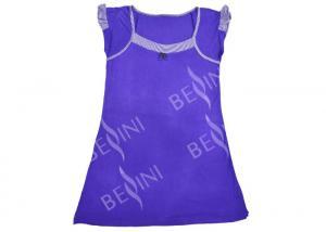 China Violet Puff Sleeve Ladies Viscose Pyjamas / Viscose Sleepwear Gathers Contrast Band on sale