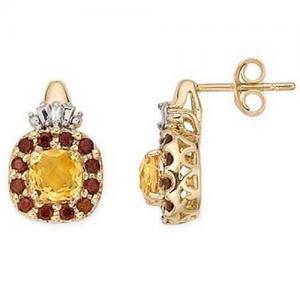 China 14K Yellow Gold Earrings Citrine, Garnet and Diamond earring on sale