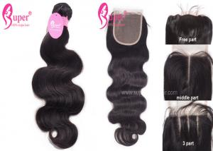 China 11A Brazilian Virgin Hair Extensions With Free Middle 3 Way Part Swiss Lace Closure on sale