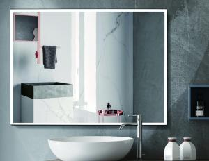 China Hospitality Lighted Touch Screen Bathroom Mirror With Defogger Function supplier