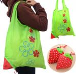 Ecological Drawstring Tote Bags Cute Strawberry Portable For Super Market