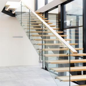 China Solid wood stairs iron steel staircase price on sale