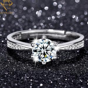 China Adjustable Womens Sterling Silver Diamond Wedding Rings on sale
