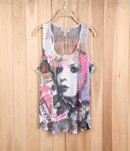 China girl brand excess apparel fashion stock lots exporter lace see-through sleeveless vest tee on sale