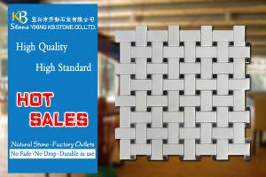 China White Marble Wall Tiles Marble Mosaic Tile With Black Dots CE Approved on sale