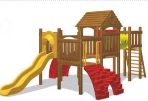 China plastic slide wooden playground equipment for primary school on sale