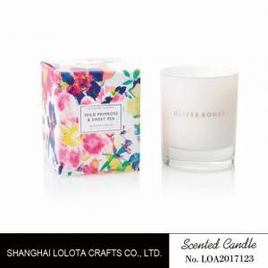 China Home Decor Small Scented Candles , Glass Jar Scented Candles Colorful Printed on sale