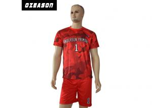 China High Quality Customized sublimated football jerseys , red camo design soccer jerseys on sale
