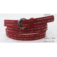 China Mixed Colors Mushroom Metal Studs Wide Waist Belt With Red PU For Women on sale