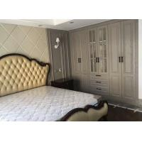 China Sliding Opening Bedroom Wardrobe Cabinets Gray Moulded Skin Tactile Door Panel on sale