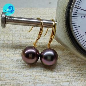China fine jewelry Tahitian Pearl Hook Earring 9-10mm perfect round 18K yellow Gold Black purple tahiti pearl on sale