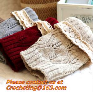 China women knit boot cuffs acrylic cable pattern lace boot socks buttons leg warmers bontique on sale