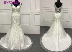 China Bridal Elegant A Line Wedding Dresses / Sexy Beading A Line Dress Wedding Gown on sale