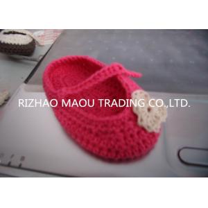 China 6cm Red Crochet Baby Shoes Flower Decoration Handmade Knitted Baby Slippers on sale