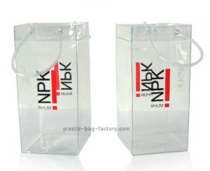 China 0.3mm Durable Transparent PVC Wine Cooler Bag Clear Plastic Ice Bag Carrier with Handles on sale