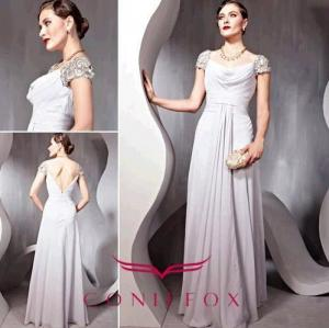 China gorgeous plus size mother of bride dresses,  pleated grey mother of bride dresses plus size on sale