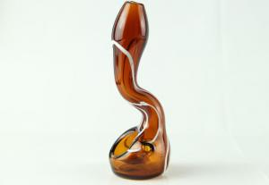 China 3.9 inch Stand up Sherlock glass smoking pipe high quality low price white stripes P057 on sale
