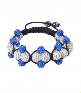 China Tresor Paris Blue & White Shamballa Crystal Bangle Bracelets for children, unisex, women on sale