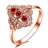 China Luxury Gemstone Gold Jewelry For Women Three Stone Ruby Diamond Engagement Ring  on sale