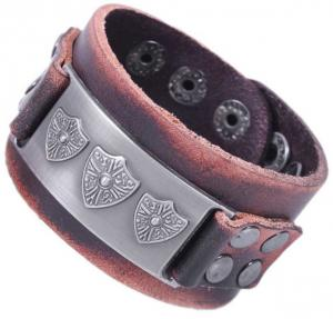 China Shield charm leather cuff with dots studs, men leather bracelets on sale