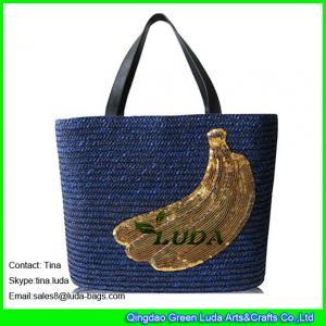 China navy blue straw beach bag  banana wheat straw fashion  bags on sale