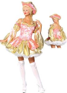 China Wholesale Old Fashion Costumes Golden Pink Marie Antoinette for Halloween by Satin and Brocade XXS to XXXL Available on sale