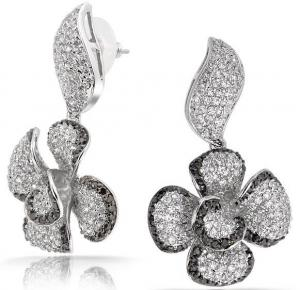 Quality Flower Shaped Micro Pave Jewelry Sterling Silver Diamond Earrings For
