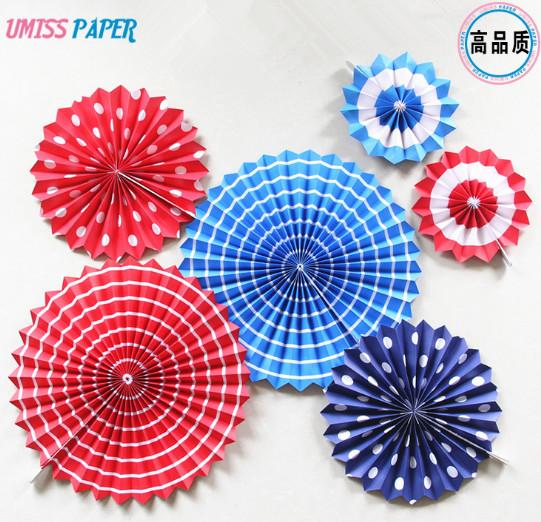 6 Sets Of Paper Fan Flowers Round Colorful Dotted Folds Origami Fan