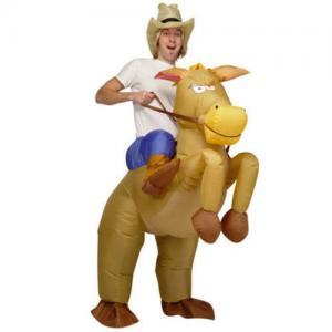 China Riding Horse Halloween Adult Inflatable Costumes Cowboy Mascot on sale