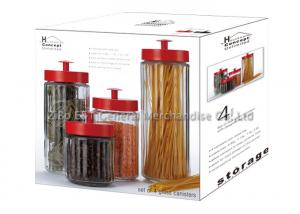 China Clear Glass Storage Canisters / glass jar storage containers with lids 2.6L  1.5L on sale