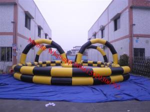 China El circuito de carreras de aire inflable de la pista de aire inflable va pista de carros on sale