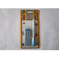 Blue Striped Birthday Musical Candle Singing Song For Christmas Party Decorations