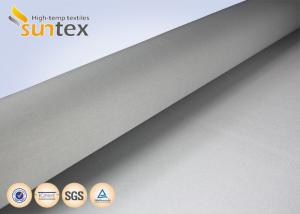 China 1 Side 0.65mm PU Coated Fiberglass Fabric Silver Grey For Welding Blanket Fireproof Curtains on sale