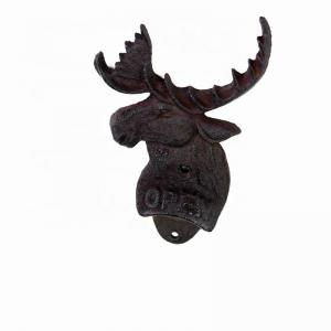 China Home Decor Deer Head Brown Rust Cast Iron Bottle Opener on sale