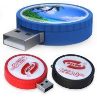 China Round shape rubber trim Custom USB Memory Sticks flash drive 1GB - 32GB on sale