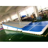 Double Wall Fabric Blue Floating Water Inflatable Air Track Ramp For Slide