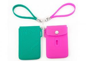 China Los titulares de la tarjeta de crédito rosados/púrpuras del silicón personalizaron el logotipo de Debossed on sale