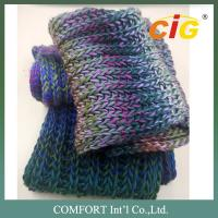 Colorful Acrylic / Cotton / Wool Yarn Knitted For Woman Scarf In Spring / Winter