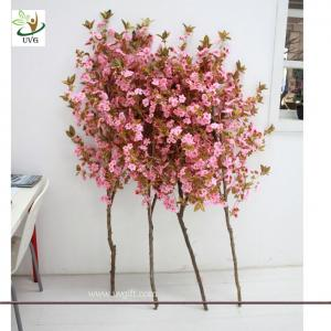 China UVG Wooden artificial tree branches with pink cherry blossom for wedding stage decoration on sale