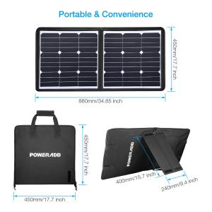 China 50 Watt 18 Volt Foldable Solar Panel Charger High Safely FCC RoHS Certified on sale