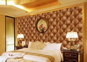 China Concise Diamond Printing Inmitation Leather Wall Coverings Moisture Resistant on sale