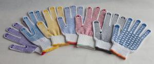 China 点を打たれるポリ塩化ビニールが付いている綿の糸の編まれた手袋 on sale