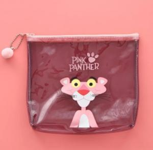 China Logo Printing Pink PVC Transparent Bag , Cute Plastic Travel Makeup Zip Bag on sale