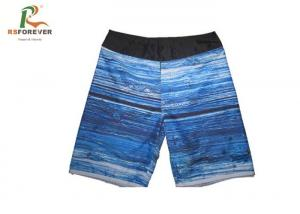 China Athletic Blue Mens Short Swim Trunks , Quick Dry Swim Shorts With Pockets supplier