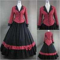 Cosplay Civil War Dress Wholesale Red Plaid and Black Long Sleeves Gothic Victorian Dress Classic Vintage Lolita Dress